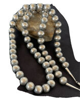 """Stunning!! 14 mm Statement Navajo Pearls Sterling Silver Bead Necklace 30""""01396"""