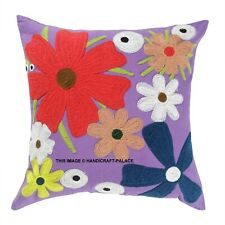 Indian Suzani Embroidered Cushion Cover 16x16 Cotton Square Throw Pillow Case
