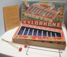 Old Tin Nursery Rhyme Xylophone Musical Toy in Box w/ Gnome Graphics - American