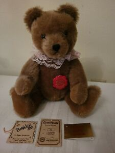 "Melody 13in Hermann Teddy Bear Cocoa Mohair w Music Box ""Teddy Bear's Picnic"" LE"