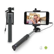 Negro Plegable Con Cable Mini Selfie Varilla Soporte para iPhone 7 Plus 7 6S 6 5S 5 C 5 4