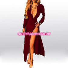 Women Long Sleeve Party Long Dress Elegant V-Neck High Waist Party Maxi Dress