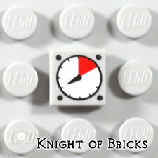 Lego Minifigure LIGHT GRAY Tile 1x1 White and Red Speed Car Gauge