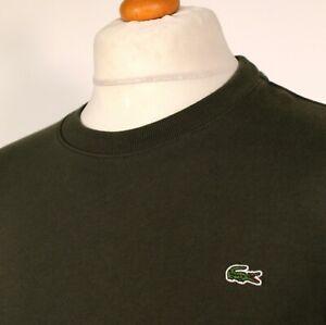 """Lacoste Crew Neck Jumper - Size 2 - 40"""" - Khaki - 60s Mod Casuals Skins Terraces"""