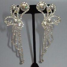 Vintage D.M. Signed Chandelier Dangle Earrings Genuine Rhinestone Crystal Silver