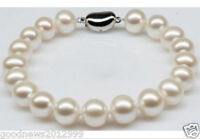 Real Charming AAA Akoya 10-11mm White Pearl Bracelet 7.5 Inch 925 Silver Clasp