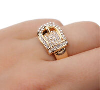 HORSE & WESTERN JEWELLERY JEWELRY WIDE WESTERN BUCKLE RING GOLD SIZE 8 OR P