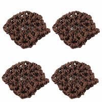 Women Elastic Band Mesh Net Bun Cover Snood Hairnets Dark Brown 4 Pcs