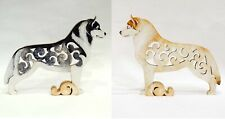 Husky figurine, dog statue made of wood (MDF), hand-painted