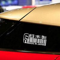MADE IN JAPAN white Car Sticker /Window/Bumper JDM DRIFT Barcode Vinyl Decal