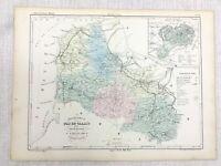 1853 Français Antique Carte Arras pas-de-Calais France Main Coloré Gravure