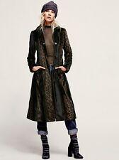 Free People black brown faux fur Leaping Leopard Midi Coat L/G New