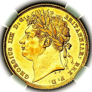 1824 King George IV IIII Great Britain London Mint Gold Sovereign Coin NGC AU58