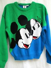VTG 80s..MICKEY & MINNIE MOUSE..COLOR BLOCK..KNIT..SWEATER..DISNEY..sz LARGE