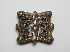 Antique Vintage Gilt Brass Belt Buckle, Two Dragons