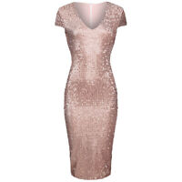 Nude Pink Sexy Capped Sleeve V Neck Sequin Pencil Wiggle Party Dress UK 8-18
