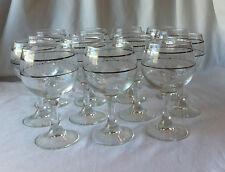 15 Piece Set : Stemware Silver / White Trim Glass Wine Goblets Cocktail Glasses