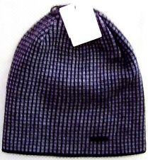 Calvin Klein $42 Grid Beanie Hat #7735177 Reversible acrylic w/metal logo Black