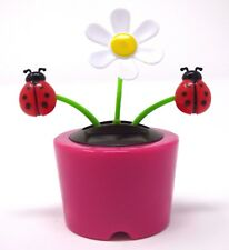 New Solar-Powered Dancing Flower Daisy with Lady Bug (Pink) ~ FREE SHIPPING