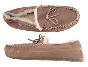 LL BEAN Men's Suede/Lambswool Shearling Moccasin Slippers, size 11M
