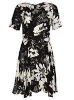 Ex Papaya Black White Floral Print Dress Tunic Size 8-20