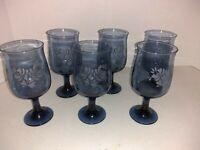 6 Vintage Pfaltzgraff Yorktown Blue Stemmed Wine Glasses Water Tumblers Drinking