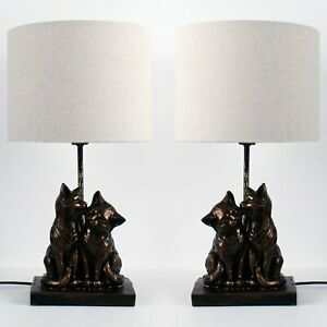 Set of 2 Kissing Cats Bronze Table Lamp Bedside Lights with Off White Shades