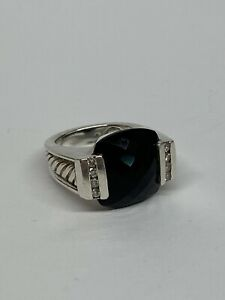 David Yurman Sterling Silver Faceted Onyx & Diamond Cable Ring - Size 6