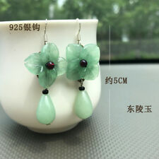 Pure 925 Sterling Silver with Green Aventurine Raindrop Drop Earrings Oriental