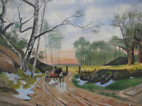 1930s HORSE & CARRIAGE in COUNTRYSIDE Oil Painting C. BOKVIST SWEDEN vintage