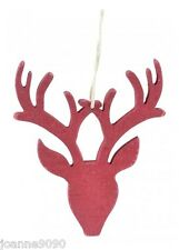 EAST OF INDIA REINDEER RED STAGS HEAD WOODEN CHRISTMAS TREE DECORATION GIFT TAG