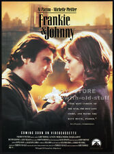 FRANKIE & JOHNNY__Orig. 1992 Trade print AD promo__AL PACINO__MICHELLE PFEIFFER