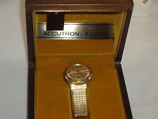 """BULOVA ACCUTRON VINTAGE 14KT CASE """"PRISTINE CONDITION"""" BOX INNER OUTER OUTER BOX"""