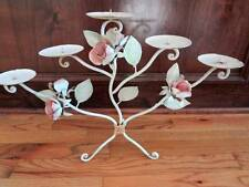 ** ITALIAN TOLE CHIC CANDELABRA  ** Chic Shabby Rose Metal Distressed
