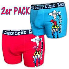 2x LUCKY LUKE Boxershort rot blau Lizenz Boxershorts Unterhose Unterwäsche Short