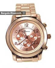 mens rose gold dress business watch rose dial designer link bracelet unisex