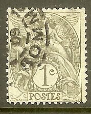 """FRANCE TIMBRE STAMP N°107 """"TYPE BLANC, 1 C, GRIS"""" OBLITERE TB"""