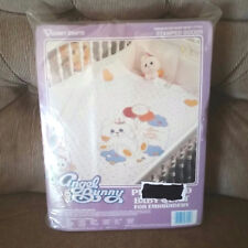 Vtg Vogart Angel Bunny Prequilted Baby Quilt Embroidery Birth Announcement New