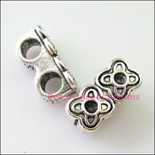 3Pcs Tibetan Silver 2 Hole Flower Spacer Bar Beads Connectors Charms 9x18mm