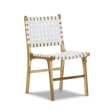 WHITE Dining Room Chair Solid Teak Wood Timber Genuine Woven Leather Set x2