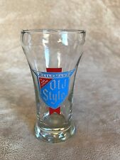 """Vintage~OLD STYLE~Heileman's~Beer~Glass~5.5""""~SHORTY~Rare~OLD LOGO~RARE~Red/Blue"""