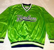 Vintage NEW YORK YANKEES Lime Green STARTER Pullover Jacket - Men's Size Large L