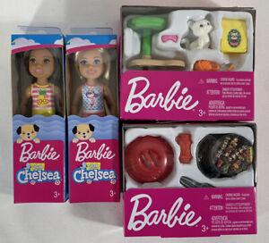 NEW Barbie Chelsea Dolls + Accessories BBQ + Kitty Cat