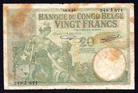 Belgian Congo  20  Francs  P-10f  1937   Prefix J