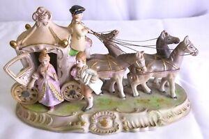 VINTAGE Hand Painted Occupied Japan Porcelain Cinderella 4 Horse & Carriage NICE