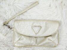 "Guess Wristlet Clutch Evening Bag Gold Metallic Faux Leather 7"" x 4"""