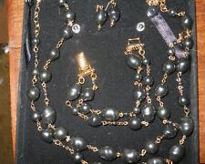Camrose & Kross Jacqueline Jackie KennedySimulated Tahitian Black Pearl Suite
