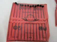 "Antique German Black Bonnet Hat Pins One Dozen 5 "" Original Paper Shield Brand"