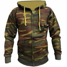 Full Zipped Camo Fleece Lined Hoodie Woodland Green - New