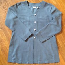 Spiegel Womans Blouse Button Down Gray Silk Blend Buttons Mother of Pearl Size14